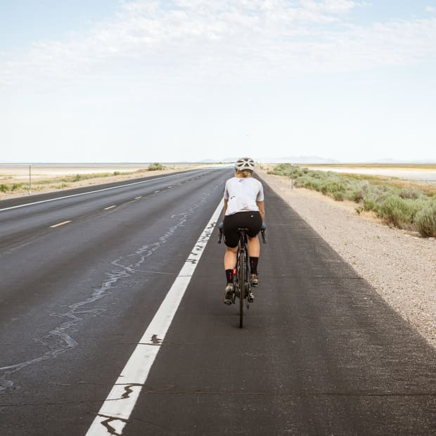 Cyclist on the open road