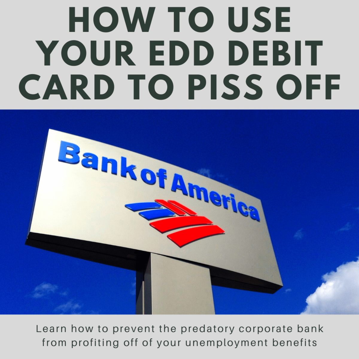 How To Use Your Edd Debit Card To Piss Off Bank Of America Soapboxie Politics