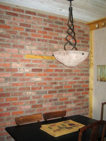 Newly finished brick wall - mortar is still drying.