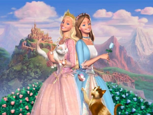 An example of the picturesque landscapes, cute pets and wonderful ballgowns in the Princess and the Pauper Barbie film.
