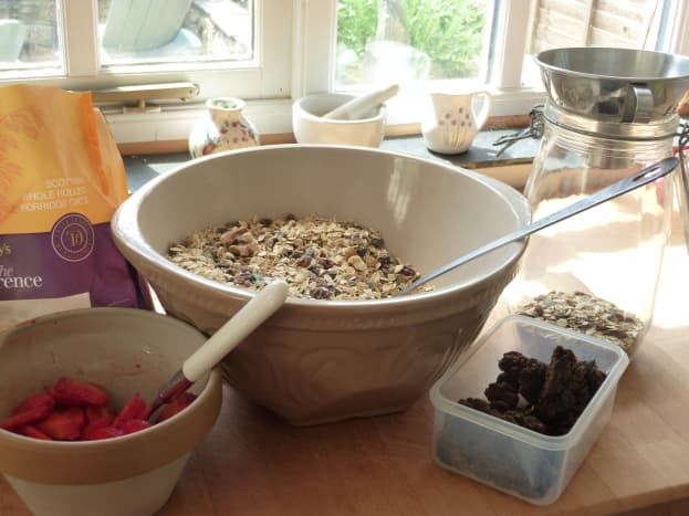 Mixing my muesli ingredients together so it's ready for filling preserve jars to store.