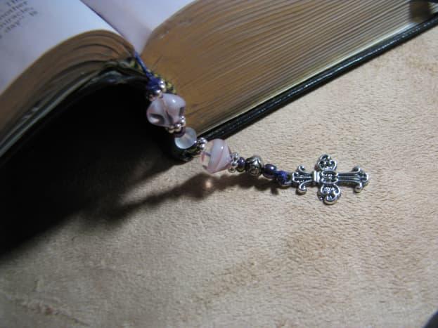 Finished beaded Bible bookmark