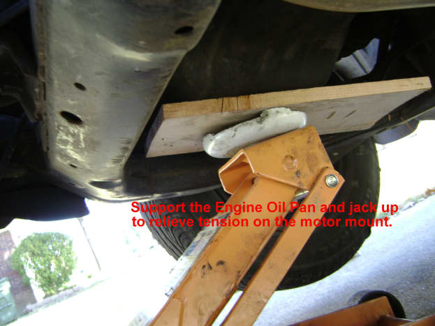 Relieve pressure on the front motor mount.