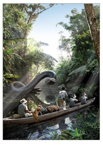 Artist's depiction of Colonel Fawcett's giant anaconda