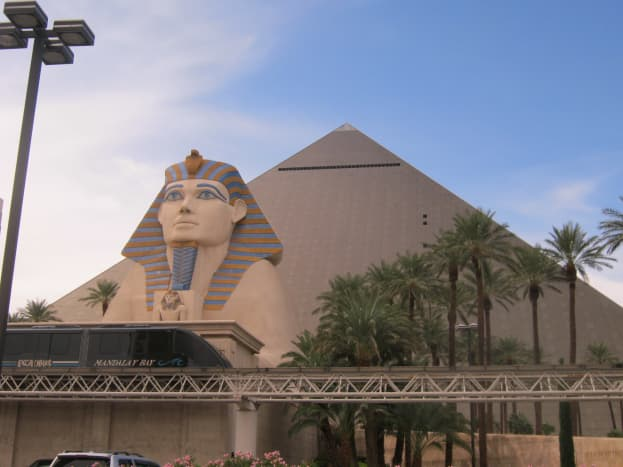 The Luxor Hotel in Las Vegas, built to look like a pyramid. This is where the Titanic Artifact Exhibit is located.