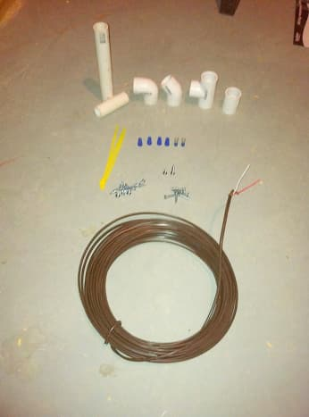 PVC pipe and fittings, wire nuts, spade terminals, screws, wire ties, and thermostat wire.