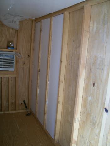 Insulation installed in one half of one wall