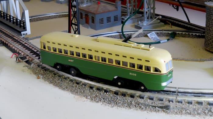 Miniature train (HO scale) inside with polymeric sand ballast.
