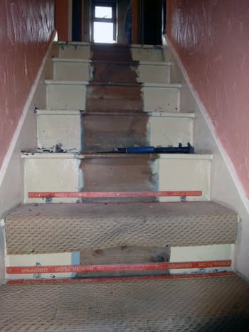 The original stairs after we took up the carpet.