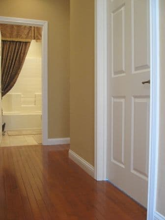 A picture of the hallway before the wainscoting project.