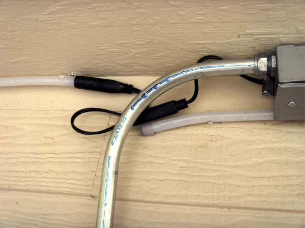 The box for rope lighting, with conduit bent and installed to switch box.