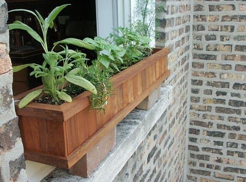 A traditional wood windowbox, of long-lasting redwood.