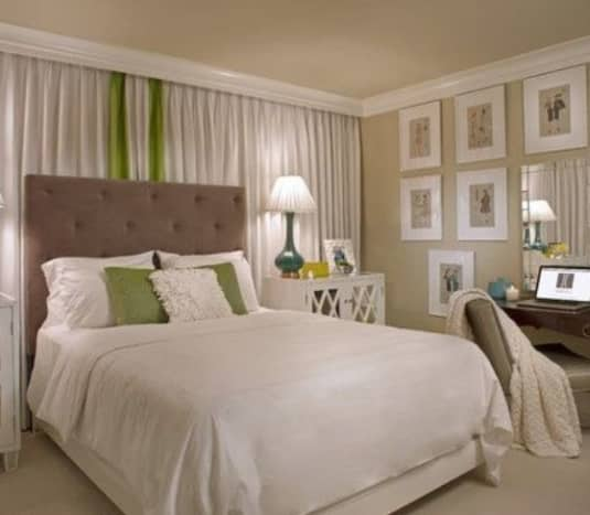 These panels behind the bed give the room a soft, cozy feel.
