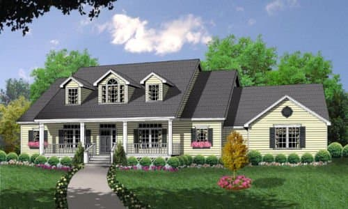 With three dormers, front porch, and attached garage