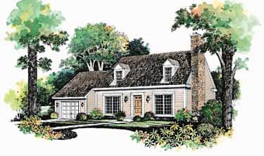 Cape Cod architectural rendering with two dormer windows