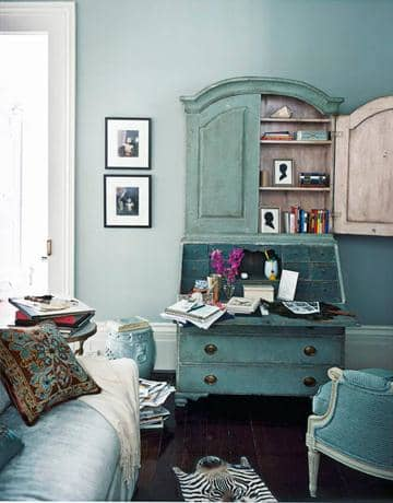 Teal cabinet hutch