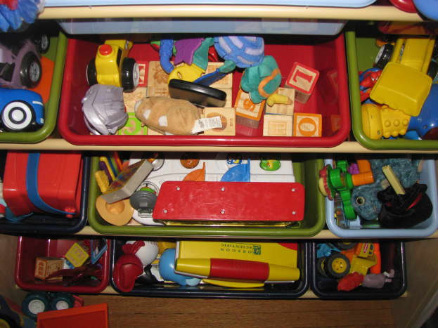 This is our toy organizer. This is what it looks like after my son has cleaned up.