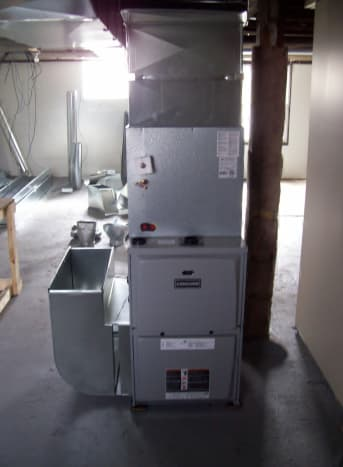 """This is a """"T"""" plenum because the furnace sits centrally in home and air will need to go in 2 directions from here."""