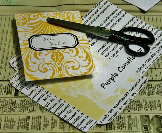 Seed packet templates from JustSomethingIMade.com are colorful & easy to resize.