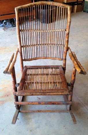 The bamboo rocker waiting to be repaired.