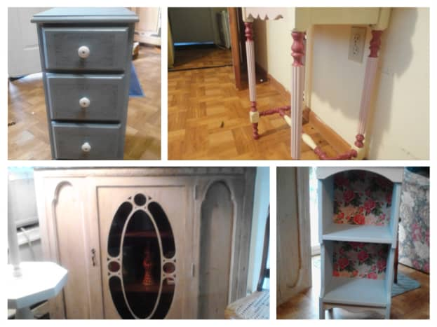 Here I have a small dresser for a child's room, a table I refinished for my daughter, the top portion of a china cabinet, and a small shelf which I backed with floral paper.