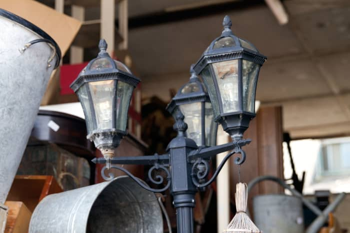 The streetlamp spotted in a reclamation yard.