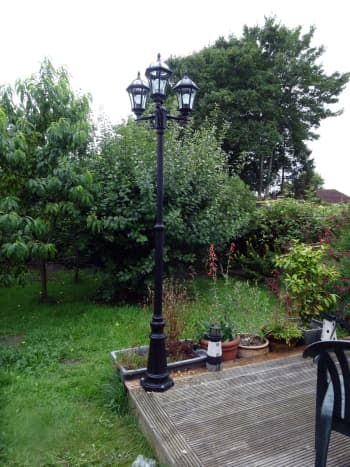 Lamppost on corner of decking.
