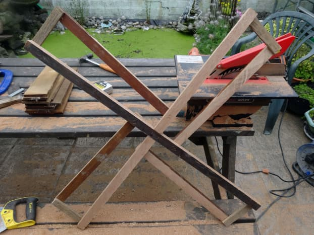 Sail frames made from salvaged teak.