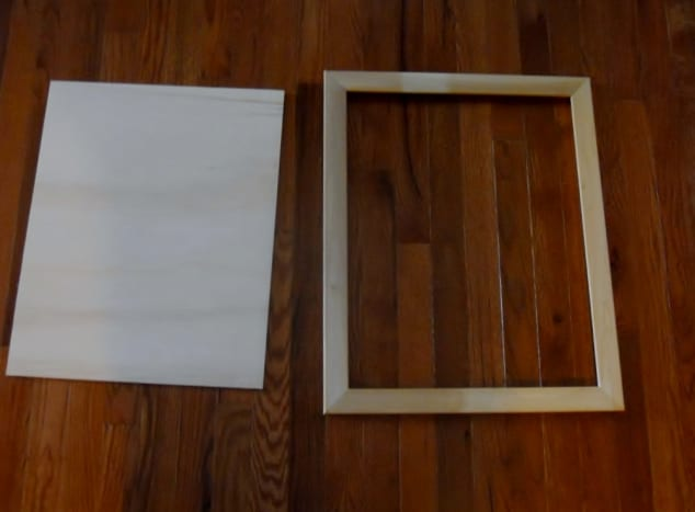 Lightly sand the frame and plywood insert to get rid of the rough spots and imperfections.