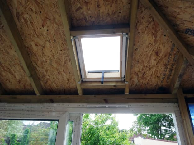 Small skylight fitted in west facing roof.