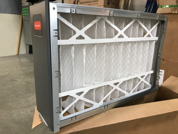"""This is an example of a media filter. Filter replacements aren't as cheap as your standard 1"""" filter and installation will likely require some modification to your return duct."""