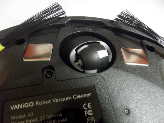 Docking contacts and caster of Vanigo  A3 Smart Robot Vacuum Cleaner