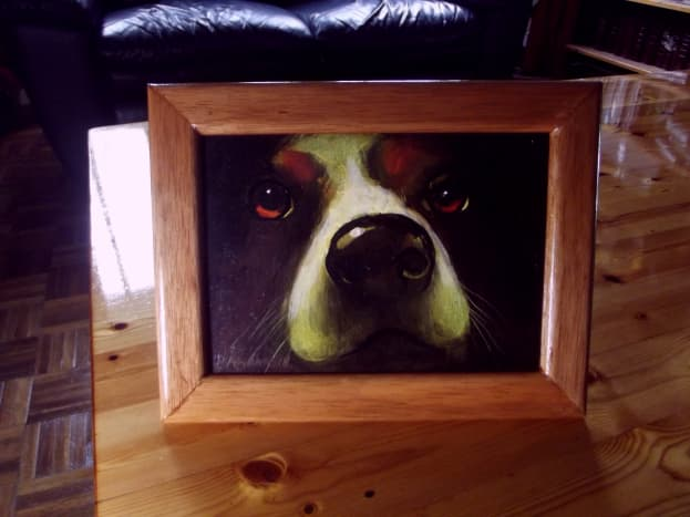 Oil painting frame constructed using Stanley 20-800 Contractor Grade Clamping Miter Box.