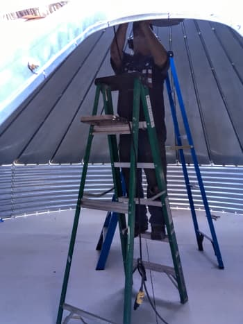 All work tightening roof bolts takes place above your head. Having good shoulders helps.