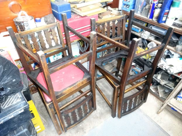 The four vintage Ercol dining chairs to be renovated.