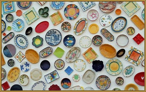 Beautiful plates hanging on a wall