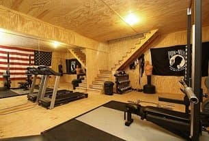 A rustic home gym with plywood ceiling and walls and black flooring