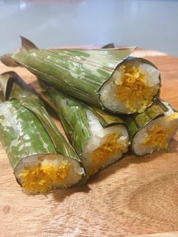 Pulut panggang is a traditional Malay snack.