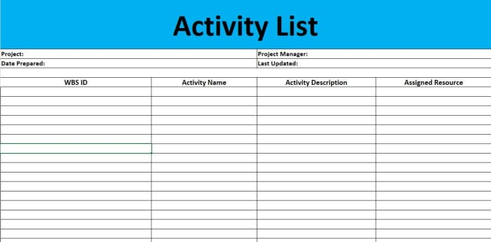Activity List