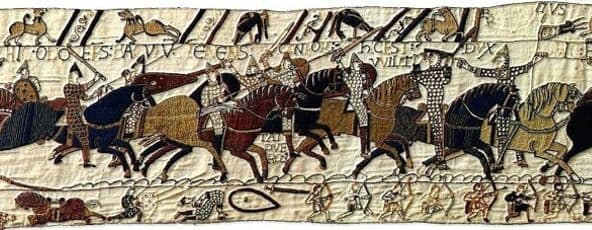 Section from the Bayeux Tapestry, commissioned by Odo of Bayeux to mark his half-brother William's victory, made probably by the widows of men killed with Harold