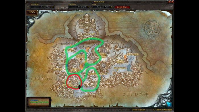 (Click to Enlarge) The red is the Spawn path for the Waterfall Route. The black star represents the Spawn point.
