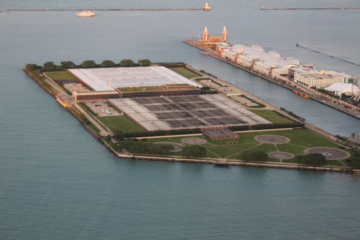 The Jardine Water Purification Plant as seen from the top of Sears/Willis Tower.