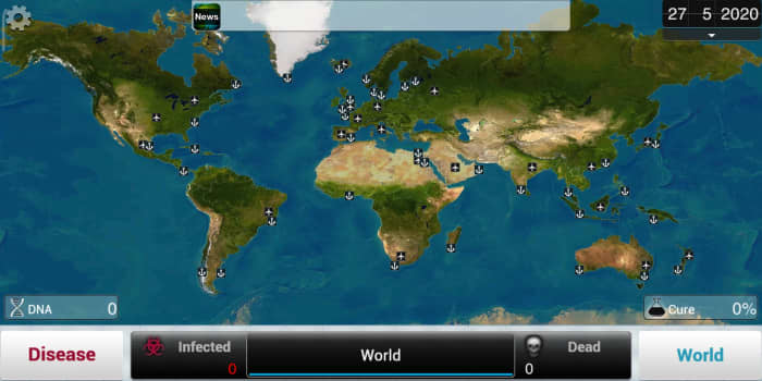 Choosing a starting location for your index patient. A mobile view of the game.