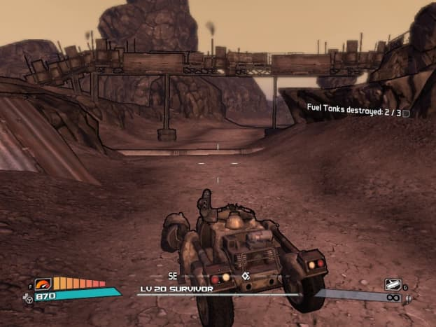Driving one of the game's vehicles. You can choose between two different models, and whether you have a machinegun or a rocket launcher mounted on top for the gunner. Cars also have a turbo boost function for more speed.