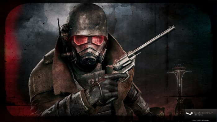 Fallout: New Vegas uses Steam, but at least the Ultimate Edition has all the DLC content on the disc.