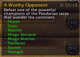 """""""A Worthy Opponent"""" achievement for defeating one of the rares in Pandaria."""