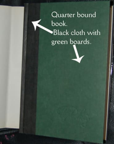 Example of quarter-bound book. Cloth is in black and boards are green. (graphic by AMB)