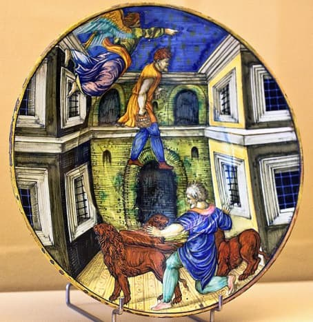Majolica plate showing Daniel in the lion's den in Museum Boymans van Beuningen in Rotterdam. Photographed by Artshooter. Image courtesy Wiki Commons