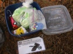 Recycled geocache container