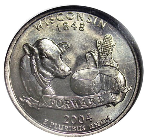 Error on the 2004P Wisconsin coin: extra low leaf on corn.
